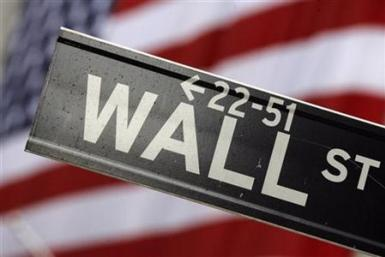 A street sign on Wall Street outside the New York Stock Exchange in New York