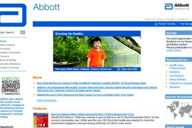 The corporate homepage of Abbott Laboratories