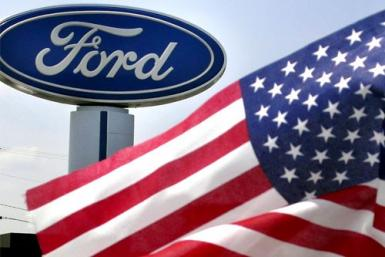 A Ford logo at a dealership in Manassas, Virginia