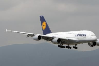 A Lufthansa Airbus A380-800 lands at Barcelona Airport