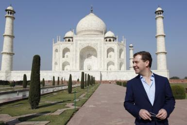 Russia's President Medvedev visits the historic Taj Mahal in the northern Indian city of Agra