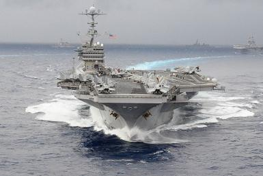 File handout photo dated November 17, 2009 shows the U.S. Navy's USS George Washington aircraft carrier participating in the ANNUALEX 21G naval exercise in the Okinawa region.