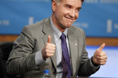 Eike Batista, Chairman and CEO, EBX Group gestures during the panel discussion 'Global Overview: Uncertainty Is the Only Certainty' at the 2011 The Milken Institute Global Conference in Beverly Hills, California May 2, 2011. REUTERS/Fred Prouser