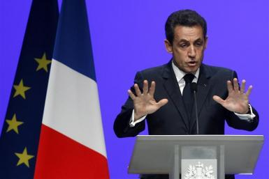France's President Sarkozy delivers his speech on the euro zone financial crisis in Toulon