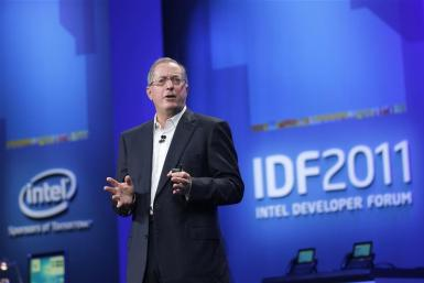 Intel CEO Paul Otellini speaks during his keynote address at the Intel Developers Forum in San Francisco
