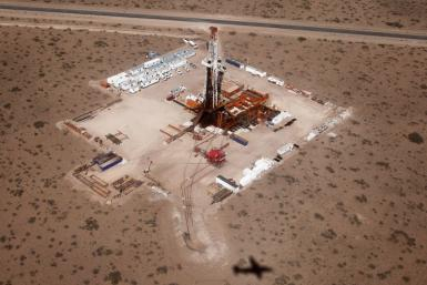 An aerial view of a shale oil drilling rig SAI-310 in the Patagonian province of Neuquen October 14, 2011.