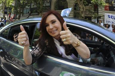 File photo of Argentina's President Cristina Fernandez de Kirchner giving thumbs-up in Buenos Aires