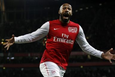 Arsenal's Thierry Henry celebrates his goal against Leeds United