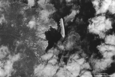 Satellite image of capsized Costa Concordia Ship captured from space