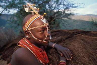A Samburu girl from Kenya. The tribe has suffered violent evictions recently.