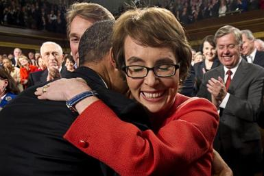 Giffords hugs Obama