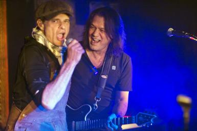 Van Halen frontman David Lee Roth and guitarist Eddie Van Halen during private concert last month in preparation for their reunion tour