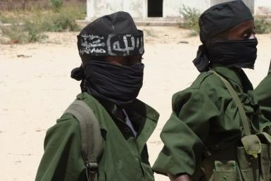 Children recruited by the armed Islamist group al-Shabab, at a training camp in the Afgooye Corridor, west of Mogadishu, southern Somalia, in February 2011.