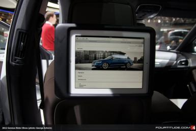 An iPad docked in the new Audi A6 Allroad at the Geneva Motor Show 2012.