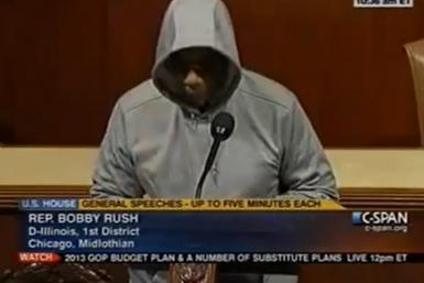 Congressman Bobby Rush wears a hoodie on the floor of Congress
