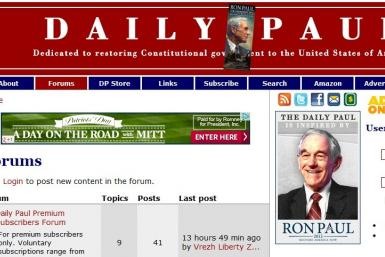 Mitt Romney is advertising on the Daily Paul website