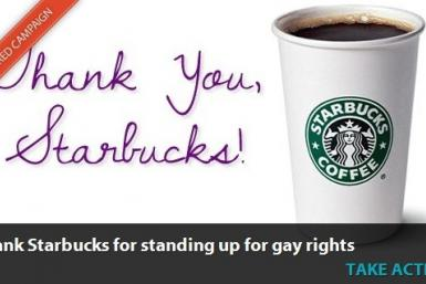 Gay marriage supporters thank Starbucks
