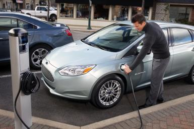 The 2012 Ford Focus Electric charging.