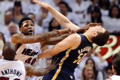 Udonis Haslem will miss game six for this foul in game five.