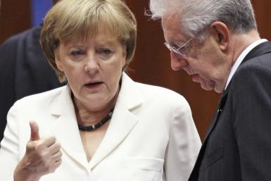 Angela Merkel and Mario Monti