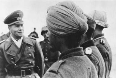 General Field Marshal Rommel with the inspection of a unit of the Indian Legion in France, 1944