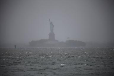 The Statue of Liberty seen during the first hours of Hurricane Sandy Monday afternoon.