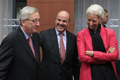 Luxembourg Finance Minister Juncker, Spain Finance Minister De Guindos and IMF Managing Director Lagarde on Monday.
