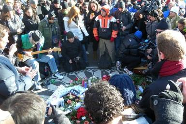 John Lennon fans mourn his death decades later at Strawberry Fields Memorial in Central Park, NY