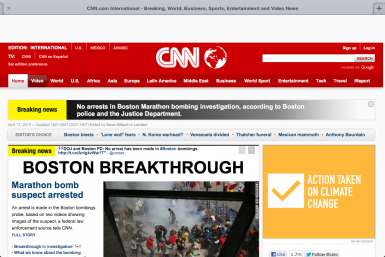 CNN Homepage During Suspect Arrest