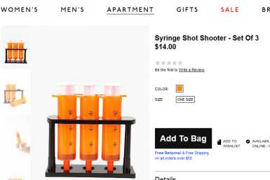 Urban Outfitter Prescription-Themed Shot Glasses