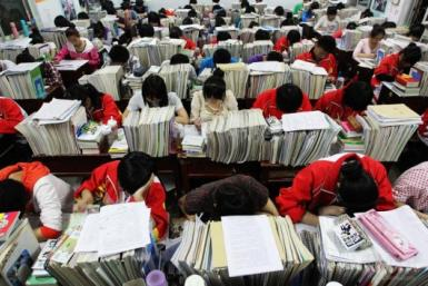 Chinese Students Study For Gaokao