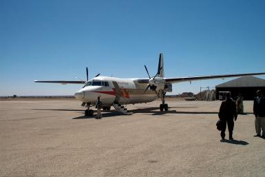 An Ethiopian Airlines plane at Egal International Airport in Hargeisa