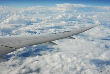 787 wing in flight