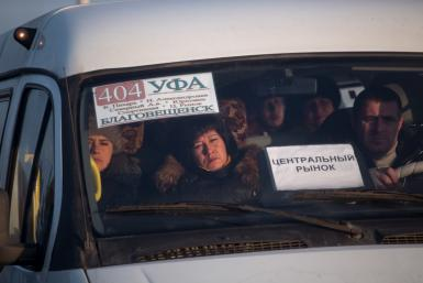 Workers in Russian van