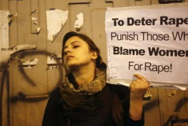 Indian woman protests rape
