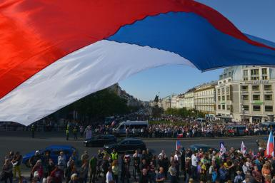 Czech Republic flag, protest