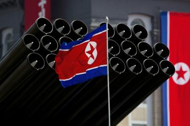 North Korea flag and missiles