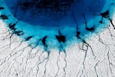 Greenland ice sheet melting lakes