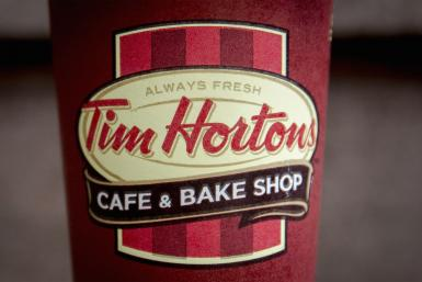 A Tim Hortons coffee cup