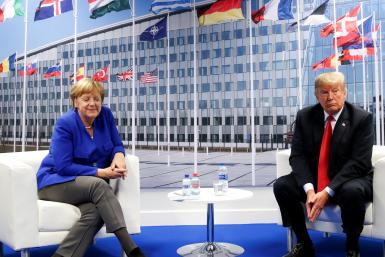 Trump and Merkel at NATO summit