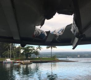 Lava bomb from Kilauea volcano damages tourist boat