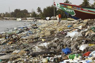 Plastic-fouled beach in Senegal