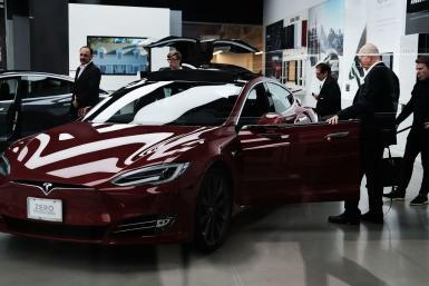 Tesla in a showroom
