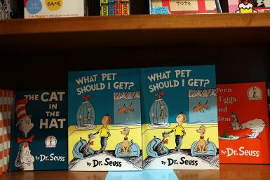Dr. Seuss books displayed at a bookstore