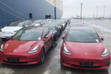 Tesla Model 3s at Shanghai Port