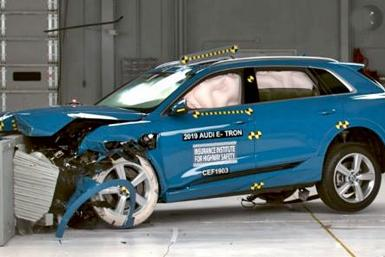 2019 Audi e-tron quattro being battered in IIHS test