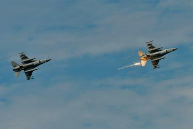 Old-model F-16s in a military drill in Taiwan on May 30, 2019
