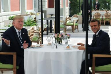 French President Emmanuel Macron surprised his Donald Trump with an unscheduled lunch after the US leader's arrival