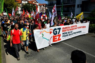 Thousands protested in Hendaye, southwest France, on Saturday as the G7 summmit opened in the nearby resort of Biarritz