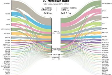 Trade between European Union and Mercosur countries in 2018